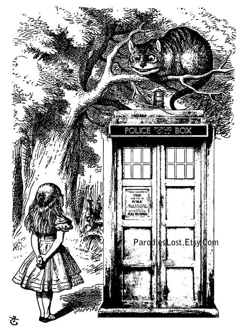 TARDIS in Wonderland crossover fan art
