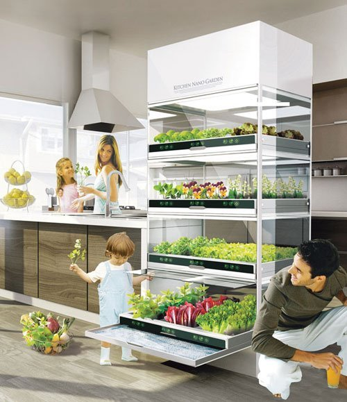 riothooping:  I WANT THIS IN MY KITCHEN!  You control sun and water to grow so there's no need for pesticides…and it even works to naturally purify the air in your home! It's not technically available yet but the design was presented by Hyundai.  Fuck yeah I want this.