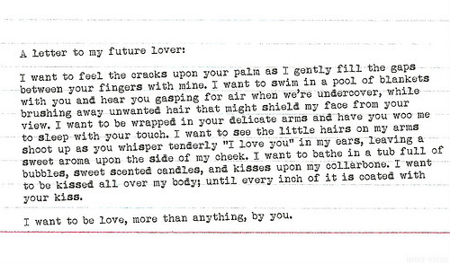 A letter to my future lover: