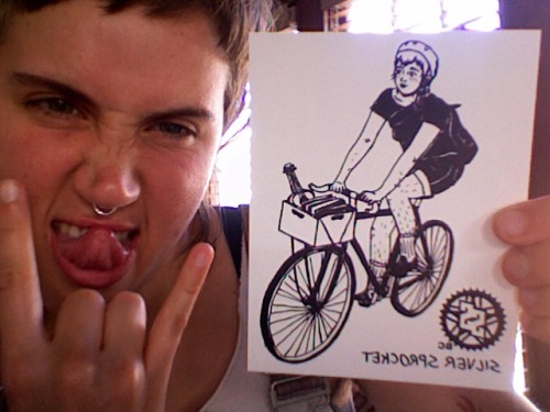You can't tell me that doesn't look like me, except for the fixie part. bikeladiesunite:  princessbeancurd:  gremlin punx////fresh off the press, nice vinyl stickers sporting a qt bike babe i drew up for my buddy avi who runs Silver Sprocket. you can get get 'em here!  Mars made these great stickers. She offered to take off the leg hair if it made printing easier, but Avi doesn't care about dumb shit like that, so the hair stayed. These are my awesome friends that I am proud of.
