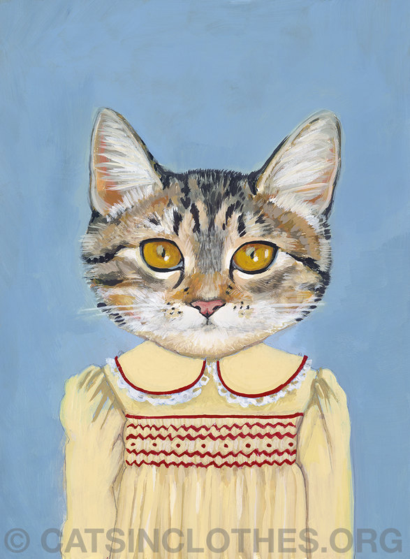 "thefluffingtonpost:  7 Stunning Portraits of Cats in Human Clothes Artist Heather Mattoon has what you might call a ""pet project."" See what we did there? Her portraits of cats wearing business suits and frilly dresses will stop you in your tracks. What better to hang over your mantle? Or in your office? Or in your bathroom?! Come on, buy one already."
