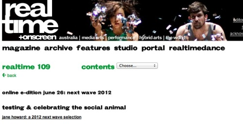 Testing & Celebrating the Social Animal by Jane Howard, RealTime issue #109 June 26 2012