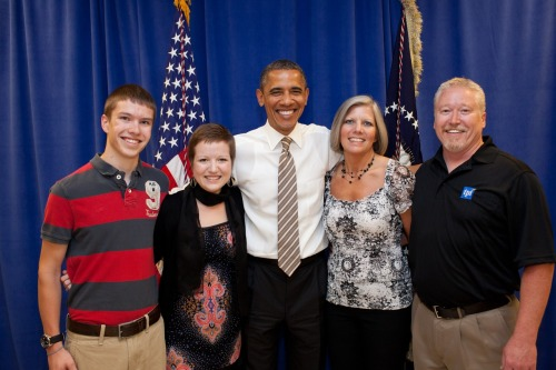 changeschlowie:  Oh, and this is my family and me with President Obama. I mean, it's no big deal or anything. I just got to meet my biggest living hero.  NBD.