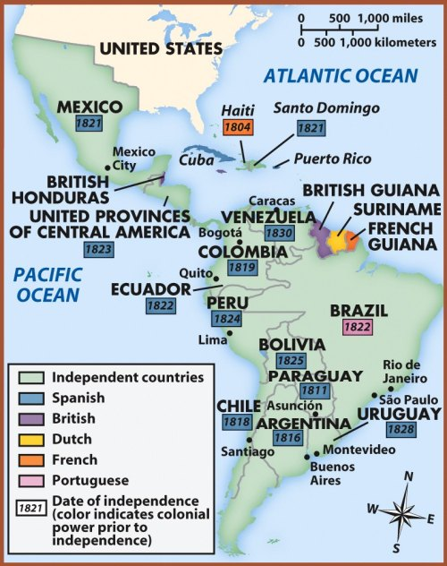 "This map is in honor of windridden, who asked for a map of South American countries and their independence dates. This includes South America as well as Central America, Mexico, and the Caribbean. Several aspects of this map stand out to me. First is the fact that the vast majority of boxes containing independence dates are blue, which indicates Spain's colonial dominance in the region. Second is that the latest date of independence is 1830 (for Venezuela). This surprised me because I know that many African and Asian colonies did not gain their independence until the early to mid-1900s. Third is the fact that Portugal had only one colony (according to the map) in the region, yet this single colony, Brazil, occupied a large portion of South America. Sometimes, less really is more. Finally, I'd like to give a ""shout-out"" to my sister, who wrote an essay about Simón Bolívar. Without him, many of these countries may never have been liberated."