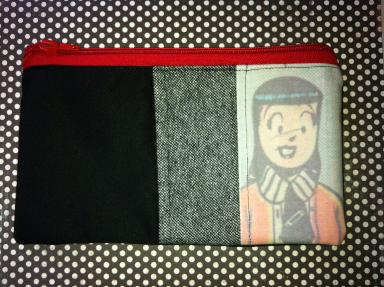 Warning!! Reckless Self Promotion!!! Making some little zippered pouches to sell online, attempting to make some money while looking for a job.  The images are taken from vintage Archie comics but I'm going to do others with various vintage images.