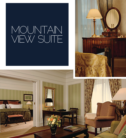 Top right → Elegant vanity rooms are offered in many Mountain View Suites. In addition, all hotel rooms avail of spacious walk-in wardrobes. Bottom → With an average size of 700 square feet, many Mountain View Suites offer floor to ceiling windows, as well as balconies or terraces.