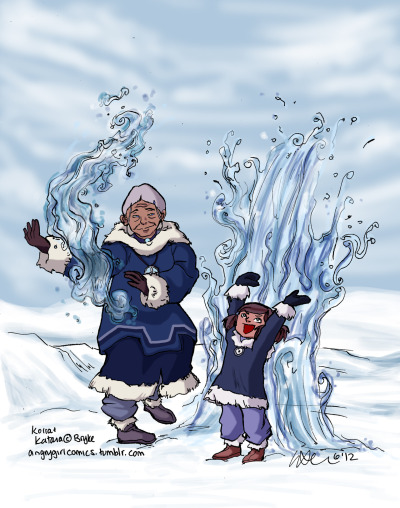 angrygirlcomics:  Katara remembers the first time she gave Aang waterbending lessons edit: I made Korra a little browner (she looked a bit too pink there)