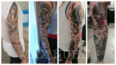 maxkuhntattoo:  Some full sleeves that I've done over the passed few months. All but the far left were done in 3-4 sessions in as many days. If you're interested in getting this type of coverage, email me at maxkuhntattoo@gmail.com. Thank you