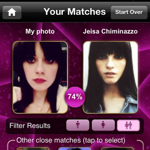 The celeb alike app thinks this chick has 74% of my face. (Taken with Instagram)