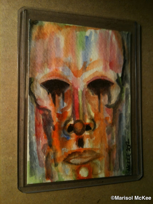 Caras Sin Ojos #2. 2 ½  inches x 3 ½  inches or 6 cm x 9 cm. Watercolor on 140 lb. acid-free paper. Signed and dated on the front; title, date, and signature on reverse. Sealed with a matte finish. Comes in a clear rigid plastic top-loader. ©Marisol McKee Available here … http://r.ebay.com/2L2rFc