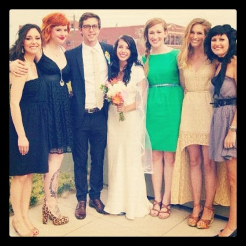 Lovely bride and groom and sweet ladies!! Really proud of my legs in this photo guys! Ha  (Taken with Instagram)