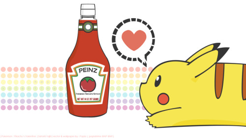 pikachu and ketchup :] but we already know what this picture really means,and u should always love ur pikachu as much as this one does.