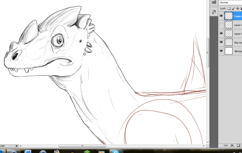 W.I.P. of some kind of dragon. He looks scared. Maybe he's wanted for speeding?