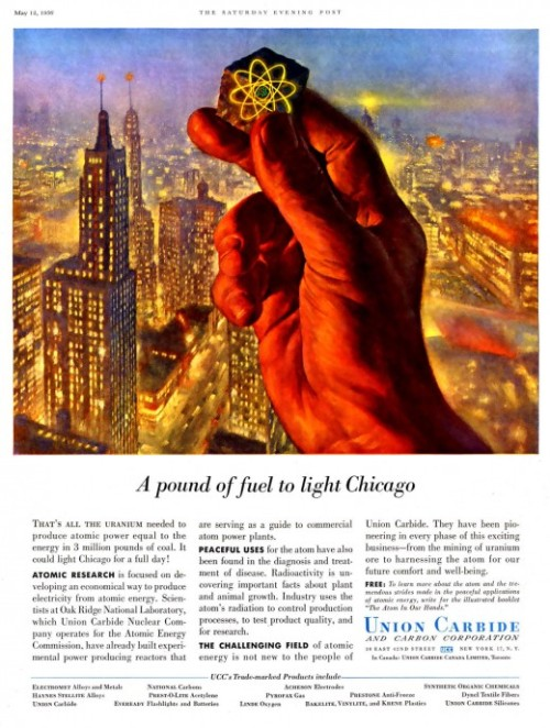 "Union Carbide ""A Hand in Things to Come"" Ads 1950s from retronaut.com"