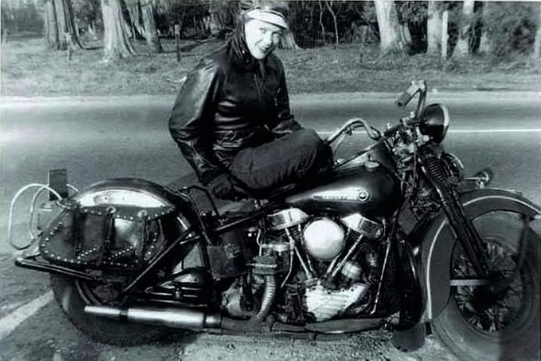"Stanley Park, early 1950s Nadia Fittinghoff on her 1948 Harley Davidson. According to the source website, ""Nadia was very well known by all the Vancouver police department during that time as she was the only skinny blonde European girl riding around on an HD."" Source: Brand New Old Bike"