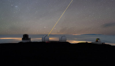 ikenbot:  Keck's Laser  Keck's observatory shoots a laser into the sky, creating an artificial star for guidance.