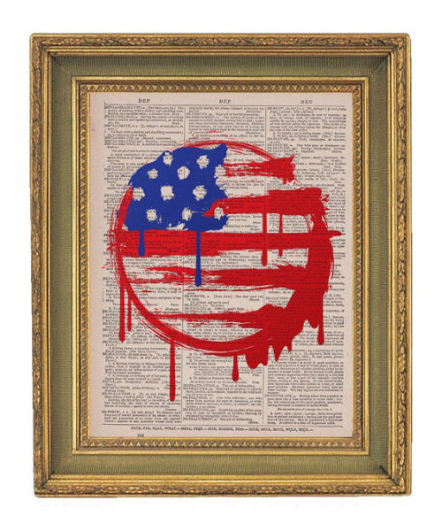 Love this american flag + old book splash painting by Paper Gangster Prints