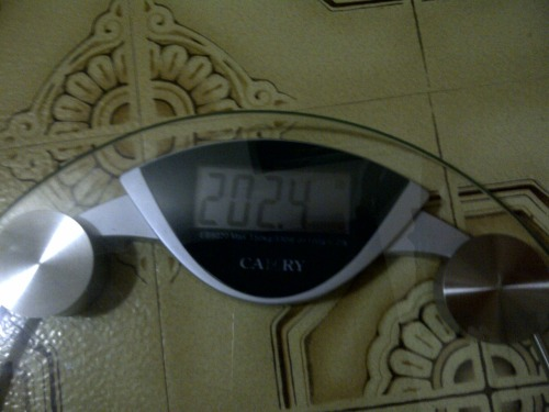 Day 26 Weigh in - 202.4 lbs. That is roughly 16 lbs for the month so far :)