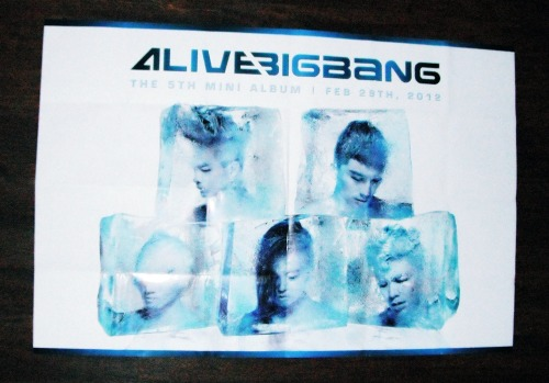 uverbean:  BIGBANG ALIVE POSTER GIVEAWAY Giving this poster away because I like the STILL ALIVE poster better and I don't have wall space for both. SO~ SPECS:  Brand new.  I've had it unfolded since I got the ALIVE album to try and reduce the creases. It was folded when I got it. 23.5 x 35.25 inches (~60 x 89.5 cm)  RULES: Reblog ONE TIME ONLY. If you reblog more than once, you will be disqualified. Likes do not count. You do not have to follow me, but you can if you want to see a whole lot of mixed fandoms, Korean and Japanese. :) I will send it in a tube to prevent further creasing. I will ship worldwide. Have fun~