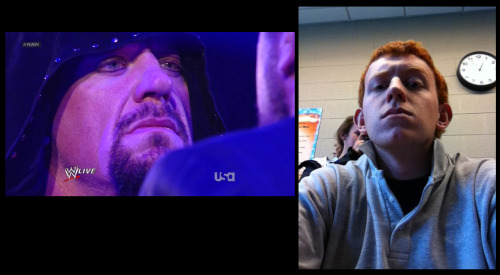 Father and son.  The Undertaker of the WWE and his first-born son Gunner V. Calaway.