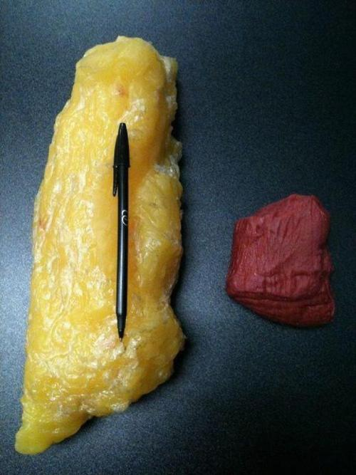 "muffintop-less:  FAT VS MUSCLE…. This is an illustration of fat (left) and muscle (right). They are the same weight. As you can see, muscle is much denser than fat (smaller & more compact). If you want to shrink in size, be ""toned"" and lean… eat clean with plenty of protein, lift heavy and build muscle ladies! Women don't have the levels of testosterone necessary to bulk up the way men do. So don't worry, you won't wake up looking like the Hulk after lifting a heavy dumbbell. It takes a massive lifestyle commitment, many years and a lot of anabolic steroids to achieve what female bodybuilders achieve. Thank you Kelsey for posting this picture!"