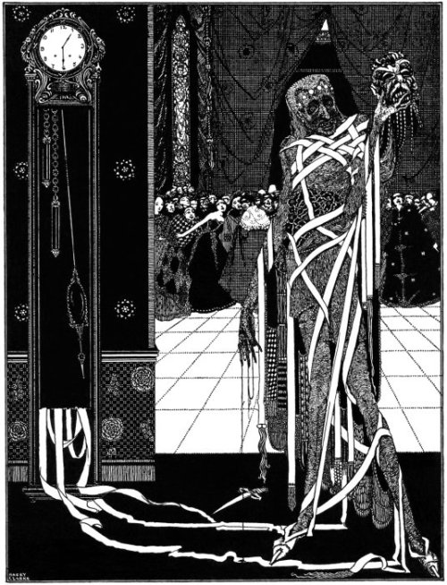 "llustration for Edgar Allan Poe's ""The Masque of the Red Death"" by Harry Clarke (1889-1931). Published in 1919. http://www.grandmasgraphics.com/graphics/hc_poe/poe272a.jpg"