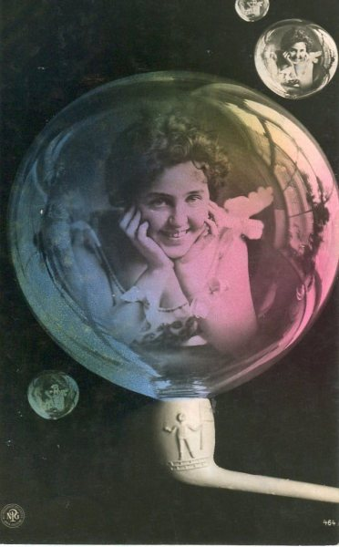 Edwardian Girl in a Bubble Postcard!