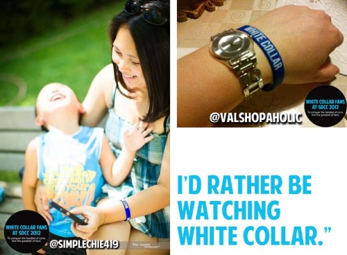 Thank you to everyone who has been ordering a White Collar Rubber Bracelet. If you still have not ordered yours, have no fear! We have plenty left and you may order one at any time. However, if you'd like to receive your order BEFORE Comic Con on July 12th, you must have your order/payment sent to us by Friday, June 29th. Send me an e-mail as soon as possible, so I can send you your order form and you can get that mailed with your payment. The payment needs to arrive by this Friday in order for us to guarantee that you'll receive your bracelet in time for the convention. Remember: If you are attending the convention and want to stop by our White Collar party, you don't have to worry about shipping costs and your bracelets will only be $2 each. Furthermore, if you are not attending the convention and don't need to have your bracelet before Comic Con, you can order yours anytime. We will continue to sell the bracelets well after the convention until our supply runs out. Again, this only applies to people who either cannot pick up their bracelet at our party, or want to wear their bracelets at the convention before our party.