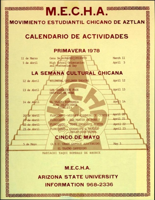 M.E.Ch.A.Schedule of events/Horario de eventos1978ME CHI F-58/OV via The Chicana/Chicano Experience in Arizona - Organizations
