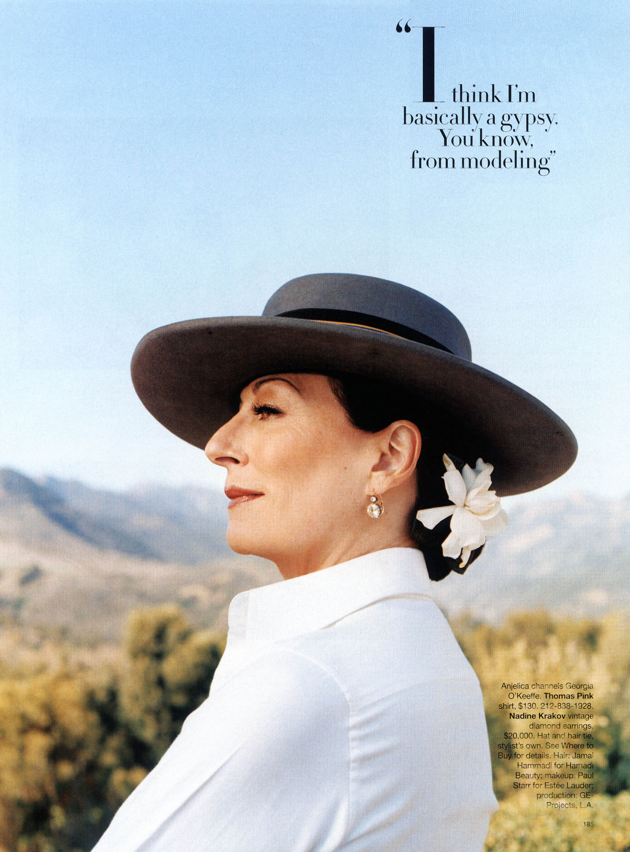 Anjelica Huston - Bazaar, April 2006