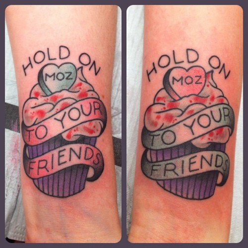 xcrystalpistalx: Mary and I's best friend tattoos! Causing trouble together since 98'. Dan did an amazing job! via dansmithism: Who will fall defending your name? (Taken with Instagram)