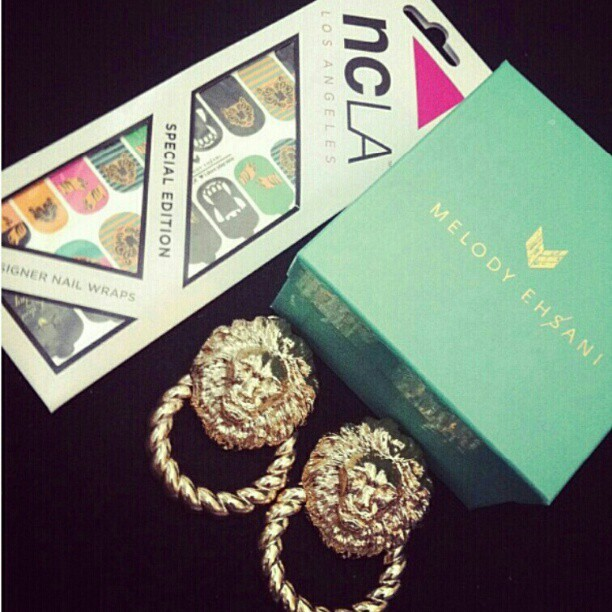 The perfect outfit #melodyehsani #ncla #jewelry #naildesign #earrings (pic jacked from @anikamendes) (Taken with Instagram)