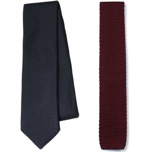 "We Got It For Free: The Knottery Grenadine and Silk Knit Ties The Knottery, a relatively new entrant in men's neckwear, recently sent me two of their ties to review. The package came last week and in it was a solid navy grenadine, which is part of a new collection of grenadines they've just introduced, as a well as a solid burgundy silk knit. The silk knit is straightforward enough. Whereas regular neckties have more complicated constructions, silk knits are simply woven on machines either in tubular constructions or attached through a seam at the back. The ones at The Knottery are three inches wide and made in the first method (tubular). Some men prefer this because without the seam, you don't have the small bump going down the back, which in turn won't bulk up the knot. I personally have never had a preference either way. What I do think men should consider, however, is the material and weave that the knit is formed in. Silk, cotton and wool will obviously create different looks, and each can be woven in a different weave. One only needs to compare the silk knits at Drake's, J. Press, and Land's End to see what I mean. None are better than the others, but they do serve different tastes. If you like the material and weave at The Knottery, these seem like a decent value at $25. The grenadines are perhaps a bit more exciting. With the exception of Chipp2, I don't know of any other retailers selling grenadines for under $60. The Knottery's are $55, three inches wide, and made from the same silk grenadine fabrics that all the other high-end makers use (with the exception of ""mock"" grenadines, I believe there are only two sources for ""true"" grenadine fabrics, and both of them are very good). They are also constructed in New York by a very well respected American manufacturer (I can't reveal who, but they're well respected). Perhaps their only faults are that they're made with a 50/50 polyester-wool interlining, which means that the tie won't relax as easily after a long day's wear, and that they're machine made. Normally, with high-quality wool interlinings, you can hang your tie up for a night and the wrinkles will naturally fall out. This is a bit more difficult with blends. The machined seam at the back also seems a bit tight, which I admit makes me wonder about the tie's longevity. On the one hand, numerous high-end makers have told me that a slightly looser slip stitch is essential to ensuring that the tie has enough give when it's being wrapped tightly around a neck, and can return to its original shape when it's unknotted. On the other hand, before wearing handmade neckties, I wore mid-tier, machine-made ties from department stores for years, many of which had these tighter stitches, and none of them snapped. Their only problem was that they looked a bit lifeless and failed to give a good dimple when knotted, but none of these are issues that The Knottery's grenadines suffer from. Outside of those concerns, the rest are just preferences. My favorite grenadines are from Drake's, Sulka (now defunct), and E.G. Cappelli, all of which are lightly lined. The Knottery's are a bit heavier, but not as heavy as my grenadines from J. Press. They also have a slightly peculiar feel when you rub the fabric between two fingers – a feel that's not too unlike rubbing the fabric of a silk knit together, which doesn't happen with any of my other four-in-hands. Not better or worse for it, mind you, just different. Of course, some may wonder how these compare to Chipp2's grenadines, which are the other affordable option on the market. I admit I like Chipp2's lighter feel, pure wool interlining, and hand construction, but I dislike that their outer fabric (the silk) is somewhat loosely attached to the interlining itself. The Knottery's are built like all of my other grenadines, with the brushed interlining staying close to the silk, and I think it gives a more handsome dimple. They're also easier to order from, though some might find charm in Chipp2's slightly roundabout process. Perhaps most importantly, Chipp2's are made from garza fina, which have a fine weave, whereas The Knottery's are garza grossa, which have a slight honeycomb like appearance. Again, purely a matter of taste, but I generally prefer garza fina with suits made from smoother, worsted wools, and garza grossa with more informal jackets.   Either way, for those on a budget, you now have two sources to get an affordable grenadine – Chipp2 and The Knottery – both of which offer decent options."