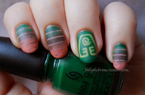 Avatar series part three: Earth. When I was coming up with this mani, I had a horrible time. I mean, what does one do to represent Earthbending? The only idea that came to me was recreating the layers of the Earth's crust. To be honest, I don't love them, but I definitely don't hate them. They kind of have an ugly pretty quality to them. Colors Used: Accent nail: China Glaze- Holly-Day (base) Sally Hansen Complete Salon Manicure- Yellow Kitty (mixed with Holly-Day and sponged over base) Sinful Colors- Adventure Island (symbol) Main nails: Background Wet n Wild Megalast- Private Viewing (base) Finger Paints- Sketchy Character (sponged over base) Essence Nude Glam- Iced Latte (sponged over base) Gradient China Glaze- Holly-Day Finger Paints- Sketchy Character Wet n Wild Megalast- Private Viewing  Essence Nude Glam- Iced Latte Sinful Colors- Hazard Sally Hansen Complete Salon Manicure- Yellow Kitty (mixed with Holly-Day, and mixed with Private Viewing, Iced Latte, and Hazard.) Essie- Matte About You Stripping tape Stay tuned for Tuesday's element: Fire!