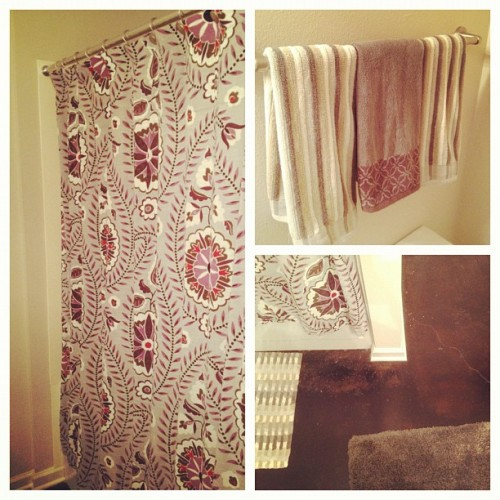 Our #bathroom #photoaday #june #day27 #design #decorating #curtain #towels #floors (Taken with Instagram)
