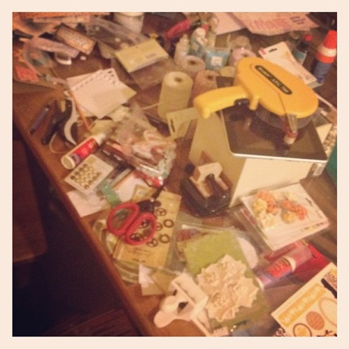 I have to stop, eat & go to bed. #mess #scrapbooking #create #teresacollins #carolinabreeze #glitzdesign #prima  (Taken with Instagram)
