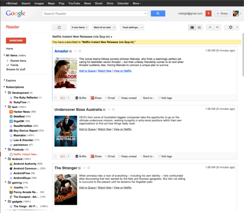 Qup in Google Reader
