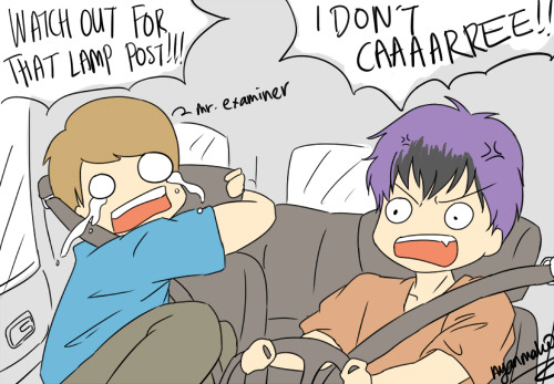 "nyanmako:   The reason why Yongguk fails his driving test…  if you guys watch pewdiepie's Happy Wheels videos you'd probably get the ""I don't care"" reference x'DDD"