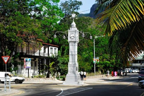 Victoria Clock Tower, erected in 1903, in Mahé, the largest of all 115 archipelago  islands that compromise the Republic of Seychelles.