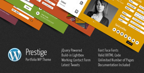 Prestige - Portfolio WordPress Theme Prestige is a minimal and colorful portfolio WordPress theme based on menu tabs in different colors. Tabs are presenting pages content. Each page is one Prestige tab. Theme contains blog with comments, working contact form, slider, build-in gallery lightbox with video support, latest tweets, plenty of social icons.