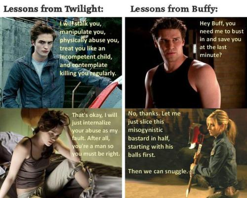 fitnesslikeaboss:  riraki:  LOL so true.  Glad I grew up on Buffy.  BUFFY IS FOREVER BETTER THAN TWILIGHT. TWILIGHT SUCKS