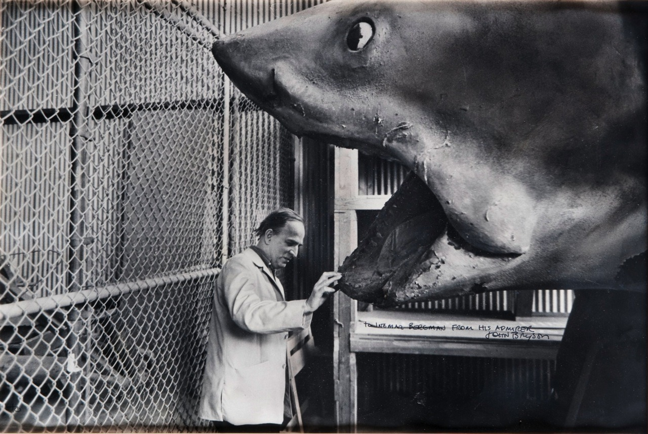 "Ingmar Bergman admiring a robotic shark on the set of ""Jaws."""