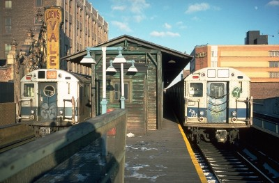 urbanmetaphysics:  168th Street elevated subway station, Jamaica, Queens, NY, c. 1978.