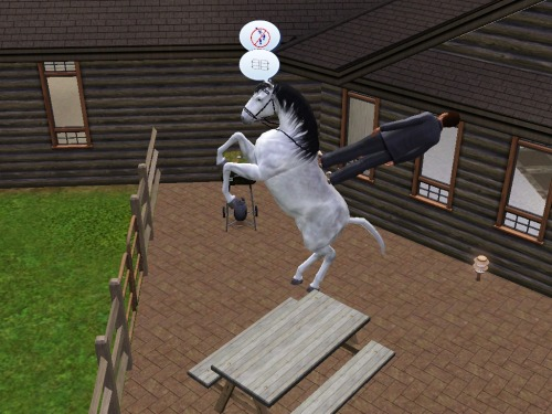 the-absolute-funniest-posts:  simsgonewrong: This isn't how you ride a horse…   My lovely followers, please follow this blog immediately!