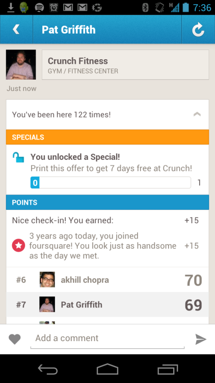 Apparently today is my three-year foursquare-versary. Thanks for the 15 sweet, meaningless points, badges, and memories.