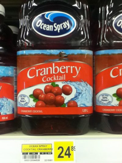 June 16. Nunavut. $25 for cranberry juice. This photo was posted in the 'Feeding my Family' Facebook group, which was started to raise awareness of the high cost of food in Nunavut. Another Facebook group, Nunavut Adopt a Family, has started where generous donors can be matched with family to help provide them with food.