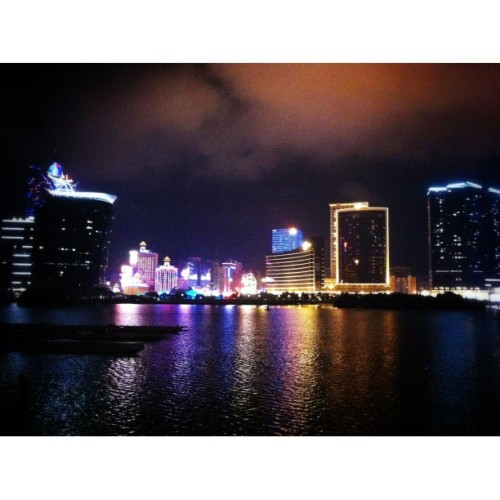 Nightlight. Never get bored to it. #macau #night #view #buildings (Taken with Instagram at Macau)