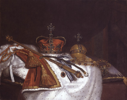 isensualist:  Regalia of Charles II: 1670  Oil on canvas. This painting shows part of the Restoration regalia: Crown of State, Royal Sceptre with its cross finial, the orb, the Garter, the Garter Sash with the 'Lesser George' and the Garter collar with the George, all resting on a cushion and cape with red and gold cords ending in large tassels. British School - Unsigned