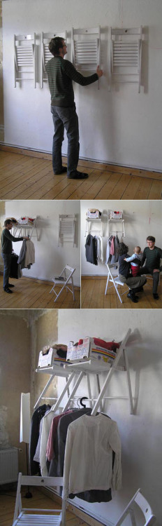 DIY Instant Closet from Chairs This really is incredibly clever. The chairs are a simple wooden folding variety and are not permanently affixed to the wall. Yet when opened they stabilize, hold boxes of loose articles and are the perfect width from the wall to hang even the most bulky of garments. The entire article Re-Thinking Furniture: Innovative Design Explorations by Yi Cong Lu from Core77 is a good read and full of clever designs.\ [via storagegeek]
