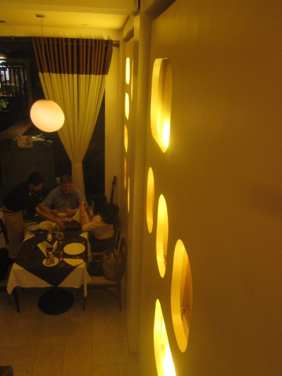 Inside Bistro Mondo on Polaris St., Makati (Manila, Philippines). Delicious soups, salads and pizzas; and most definitely all else in the chef's kitchen.